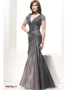 2012 Slimy V-neck Mermaid Applique Embroidery Drop Waist  Pleated Long Grey  Mother Of The Bride/Groom Dresses Under 200 BD-10228