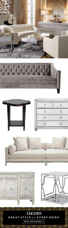 This holiday season, discover great style for every room. Take 15% off furniture, in stores or online on zgallerie.com through 11.11.2015.