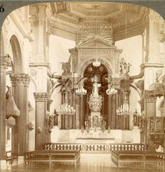 San Ignacio altar Intramuros, Filipiniana, Spanish Colonial, Altars, Manila, Filipino, Old Photos, Philippines, Architecture Design