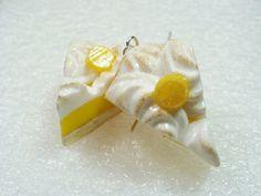 Lemon Meringue Pie earrings Polymer clay by GiraffesKiss on Etsy, £9.00