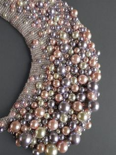 Handmade pearl collar necklace by Capsis on Etsy Pearl Embroidery, Bead Embroidery Patterns, Couture Embroidery, Embroidery Fashion, Hand Embroidery Designs, Beaded Collar, Collar Necklace, Gold Collar, Crochet Collar