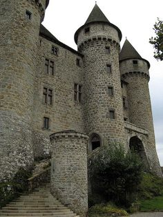 Chateau de Val, Auvergne, France, begun in the 13th century, final work in the 17th century. Except for glass window panes, this is an authentic medieval castle. Looks fantastic!
