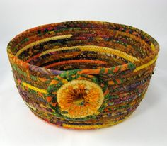 Ready for fall colors? Coiled Rope Basket Clothesline  Rich Upcycled by SallyManke