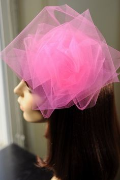 Giant Hot Pink Tulle Rose Hair Corsage by LiDDesignsBoutique - Stylehive Corsage, Pink Sugar, Rose Hair, Pink Tulle, Needle And Thread, Diy Jewelry, Hot Pink, Diy Projects, Handmade