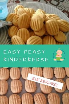 Baby biscuit recipe to bake yourself Babykekse Rezept zum Selberbacken Easy Peasy Sugar Free Kids Cookies Sugar Free Biscuits, Sugar Free Cookies, Cookies Et Biscuits, Baking Biscuits, Quick Recipes, Quick Easy Meals, Baby Food Recipes, Baking Recipes, Recipes Dinner