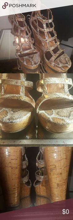 Coconuts Wedge Gold Snake Shoes. Gently Use. These Wedges Are 5 Inches And Feature a platform  Type Wedges!! Very Cool!! Perfect Condition Like  New . Shoes Platforms