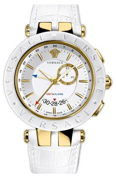 Versace V-Race Watch Mens Steel IPYG White Ring White Dial White Strap - Not a fan of white watches, but this one is dope! Cool Watches, Watches For Men, White Watches, Summer Jewelry, Beautiful Watches, Luxury Watches, Versace Watches, Fashion Watches, Jewelry Accessories