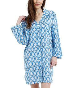 Victorian Nightgowns Indigo Geometric Sleepshirt - Women c90dd1f95