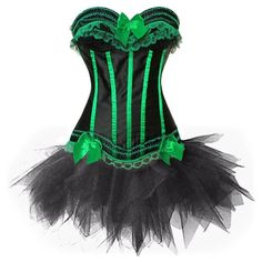 Women's Gothic Vintage Corset Skirt Set Moulin Rouge Dancer Fancy Clubwear Small Green