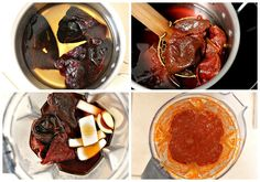 Process to make the Red Pozole Sauce, this one uses Ancho & Guajillo peppers. Raw Food Recipes, Pork Recipes, Cooking Recipes, Cooking Tips, Freezer Recipes, Freezer Cooking, Drink Recipes, Seafood Recipes, Recipies