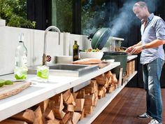Beat the Heat: Cook outside. A look at how kitchen design could change to make it easier, too - love the wood
