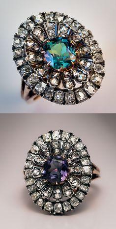A Very Rare Antique Russian Alexandrite and Diamond Cluster Ring, circa 1890