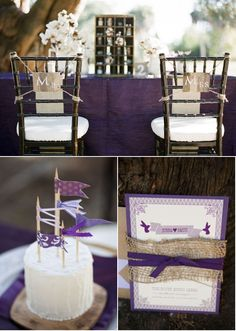 Rustic, dark purple with cremes and brown.  Love the rustic centerpieces, look at the entire article on stylemepretty