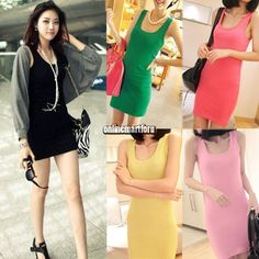 Lady Bottoming Solid Color Women One-Piece Slim Hip Tight Tank Vest Dresses
