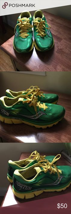 2014 Boston Marathon Edition Saucony Sneakers Kelly Green and Yellow 2014 Boston Marathon Saucony sneakers size 10 women's. In good condition. Saucony Shoes Athletic Shoes
