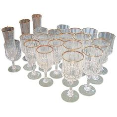 D. Arques French Crystal Gold Rimmed Glassware ($200) ❤ liked on Polyvore featuring home, kitchen & dining, drinkware, tabletop, french crystal glassware, gold rim wine glass, holiday glassware, crystal glassware set and holiday wine glasses