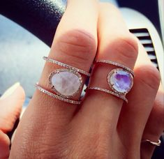 Luna Skye Jewelry  14kt rose gold and moonstone double band diamond ring  so very beautiful ...
