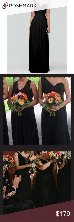 """Watters & Watters Silk Chiffon One Shoulder Dress Great for bridesmaids or as a prom dress (also for Galas and other formalwear events!). Size US Women's 6 (fits 4-6, has never been altered).  Gently loved but in excellent condition (worn two times as a bridesmaid dress).  Shoulder to hem approx 61.5"""".  Has never been altered or hemmed.  Silk interior lining with chiffon exterior.  Sweetheart neckline.  Floor-length dress.  Color-Black.  Gorgeous for any fancy occasion! Watters & Watters…"""