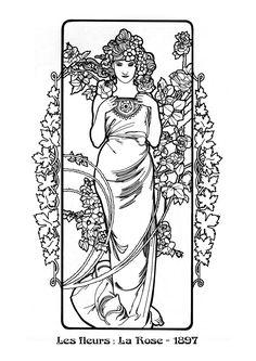 Kleurplaat naar Alfons Mucha *Colouring Picture A.Mucha-like ~The Flowers: Rose (1898)~