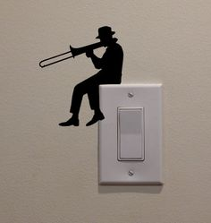 """Man Playing Trombone On Light Switch (4.75""""x4"""") - Bedroom/Home Decor Decal"""