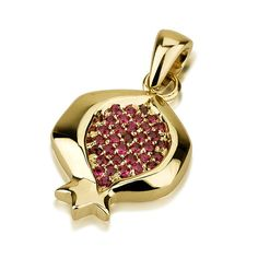Ruby Pomegranate Pendant in 14K Gold by UniqueJewishJewelry