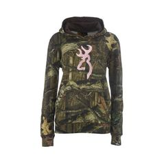 Browning Women's Mossy Oak Infinity Camo Hoodie with Buckmark (130 BRL) ❤ liked on Polyvore featuring tops, hoodies, camo, jackets, outerwear, shirts, brown hooded sweatshirt, hooded long sleeve shirt, cotton shirts and brown long sleeve shirt