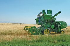 Restored 1958 John Deere 45 Combine Heads to the Fields