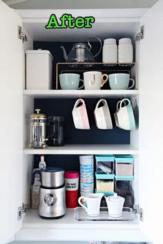 It's amazing what a difference some dark paint makes when trying to find items. Plus, hooks attached to the bottom of a shelf allows mugs to hang, while dividers create shorter shelves for even more coffee cups. See more at I Heart Organizing Coffee Mug Storage, Coffee Cabinet, Coffee Cups, Coffee Maker, Organisation Hacks, Diy Organization, Kitchen Cabinet Organization, Kitchen Storage, Kitchen Decor