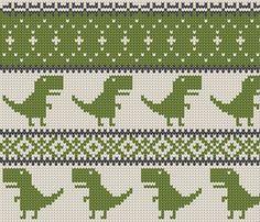 Dino Fair Isle - green (large format) fabric by littlearrowdesign on Spoonflower . - knitting ideas Dino Fair Isle - Green (large scale) fabric by littlearrowdesign on Spoonflower . Always aspired to discover ways to k. Tapestry Crochet Patterns, Fair Isle Knitting Patterns, Fair Isle Pattern, Knitting Charts, Baby Knitting, Loom Knitting, Free Knitting, Knitting Machine, Vintage Knitting