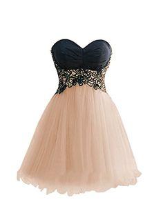 Dresstells Women's Short Birthday Dress Prom Dress with Lace Champagne Size 8 Dresstells
