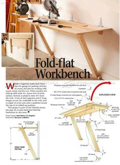 Woodworking with easy wood projects plans is a great hobby but we show you how to get started with the best woodworking plans to save you stress & cash on your woodworking projects Folding Workbench, Workbench Plans, Woodworking Workbench, Woodworking Workshop, Woodworking Furniture, Diy Furniture, Woodworking Joints, Furniture Projects, Garage Workbench