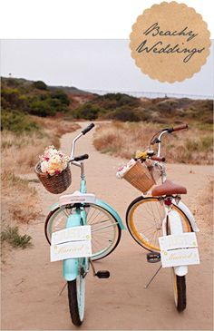 I love this idea from Michelle! ...but One bike should have a bottle of Rum with Limes & Glasses & the other bike should have a Picnic Blanket & Empanadas & goodies in the basket