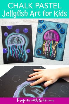 Create this colorful jellyfish art project with just a few simple supplies and easy chalk pastel techniques. A great ocean art activity kids will love to make! #projectswithkids #chalkpastels #kidsart Jellyfish Art, Colorful Jellyfish, Jellyfish Drawing, Watercolor Jellyfish, Jellyfish Tattoo, Tattoo Watercolor, Jellyfish Light, Chalk Pastel Art, Chalk Pastels