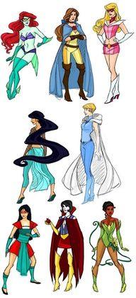 Disney Princesses turned super heroes.