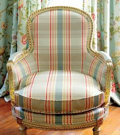 Are you mad for plaid? How about mixing plaid and floral like this? Susan Cannon, Budget Blinds of SW Lubbock shares her thoughts on why plaid is like a chameleon Chair And Ottoman, Upholstered Chairs, Wingback Chair, French Chairs, Chair Fabric, Take A Seat, Chair Covers, Interior Design Inspiration, Room Inspiration