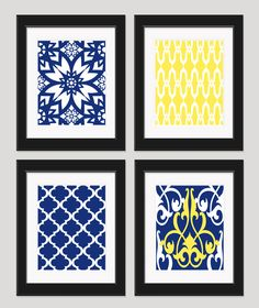 Yellow Navy Blue Art Yellow Blue Wall Art Home by inkandnectar, $45.00