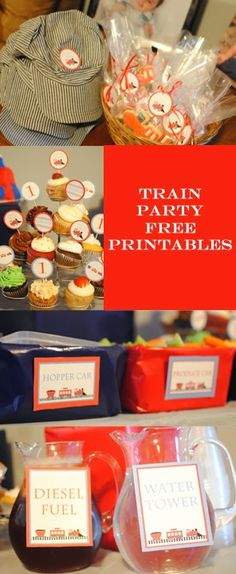 Free Train Party Printables: DIY Cupcake picks, food signs, and thank you tags Thomas Birthday Parties, Thomas The Train Birthday Party, Trains Birthday Party, Birthday Fun, Birthday Party Themes, Diy Cupcake, Cupcake Picks, Second Birthday Ideas, Third Birthday