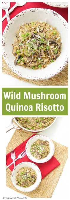 This Amazing And Creamy Wild Mushroom Quinoa Risotto Recipe Is Super Easy, Vegetarian And Is Made With Leeks and Green Peas For Great Color and Flavor. Progressively Delicious Quinoa Recipes At Via Livingsmoments Quinoa Recipes Easy, Healthy Eating Recipes, Salad Recipes, Healthy Snacks, Vegetarian Recipes, Delicious Recipes, Easy Recipes, Yummy Food, Healthy Side Dishes