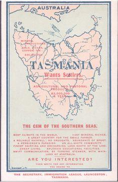 Tasmania wants settlers poster White Australia Policy, Australia Day, Australia Travel, Vintage Maps, Vintage Posters, Van Diemen's Land, Tasmania Travel, Australian Aboriginals, Posters Australia