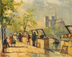 Parisian Bridge Vendors with Notre Dame Cathedral in the Distance - Counted cross stitch pattern in PDF format