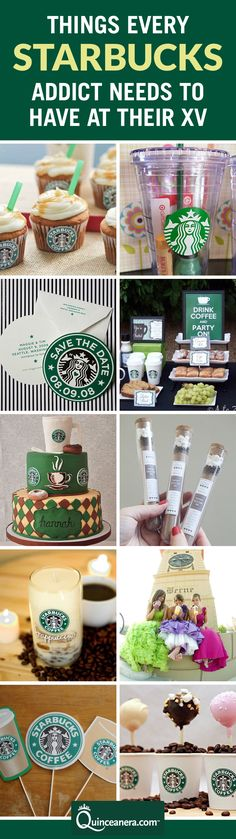 f you're a coffee addict as much as we are, you MUST include the following Starbucks decor to your Quince! | Starbucks themed Party | Starbucks themed cake | Quinceanera ideas | Starbucks Recipes |