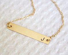 14k Gold Bar Date NecklacePersonalized Nameplate by MiyulaStudio