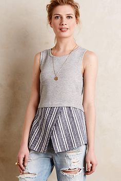 diy - Recreate - hane's grey + blue chambray <3 Ashton Layered Tank - anthropologie.com