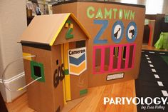 Tiny Town Theme 2nd Birthday on a budget with Cardboard Boxes and custom printables by Partyology {by Lisa Riley}