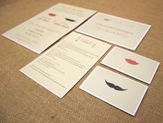 rustic fun vintage #weddingstationery #invitation #invite #southeastwedding with reply card RSVP menu and mens and womens ladies and gents place cards! coral pink red lips black moustache quirky mint green background french art deco font stylish southend barns barn wedding