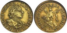 Imperial Russian gold 2 Rouble coin of Tsar Peter I (the Great), dated 1720.