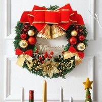 30cm Christmas Large Wreath Door Wall Ornament Garland Decoration Red Bowknot Feature: Special