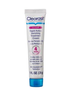 "Clearasil: Ultra Rapid Action Vanishing Cream / ""Dermatologist tested and visibly reduces pimple size and redness in as little 4 hours. It is scientifically formulated with maximum strength acne medication and works to penetrate pores. So you get visibly clearer skin fast."""