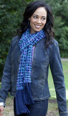 Caron International Yarns and Latch Hook Kits  Bluesy Scarf (knit)