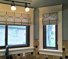 Roman Shades with a bold pattern can add a touch of personality to your space. #romanshades #windowtreatments